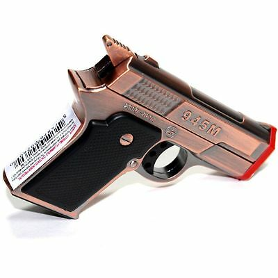9MM Hand Gun Metal Dual Jet Flames Refillable Butane Torch Lighter -Random color