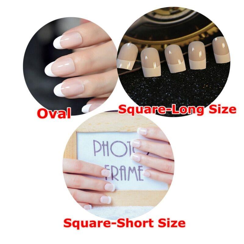 24pcs French Design False Nail Tips Light Pink Fake Nails