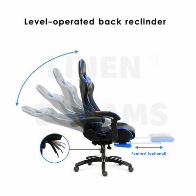 Gaming Chair Office Computer Seating Racing PU Leather Executive Racer Footrest 11