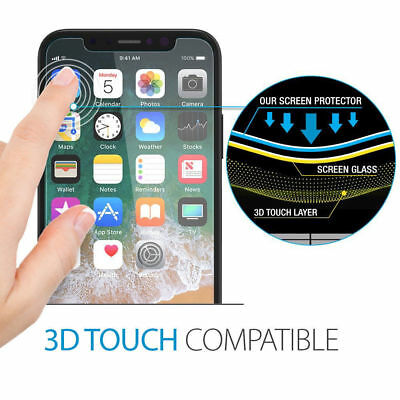 Fits For iPhone Xs Max XR 100% Genuine Clear Tempered Glass Screen Protector 6