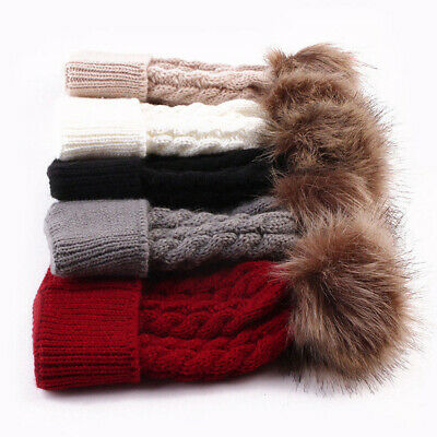 Women Mom Mother Baby Girls Boys Knit Winter Warm Wool Pom Bobble Hat Beanie Cap 3