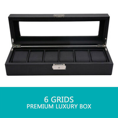 🔥6 Grids Watch Box Carbon Fiber Storage Case Jewelry Display Organizer Gift 4