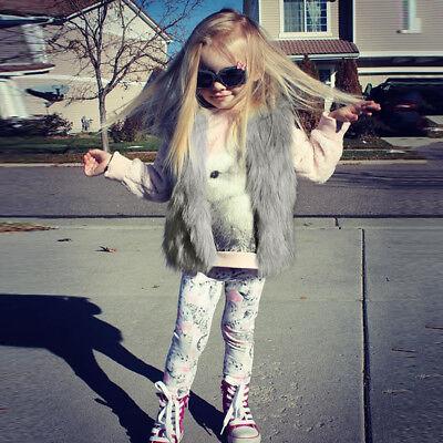 Baby Girls Kid Winter Faux Fur Waist Gilet Jacket Outwear Vest Coat Waistcoat AE 6