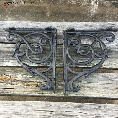 2PCS Cast Iron Brackets Antique Style Garden Shelf Hanging Hooks Bracket Black 5