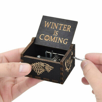 """""""Game of Thrones"""" Music Box Carved Wooden Hand Crank Handmade Xmas Kids Gift 6"""