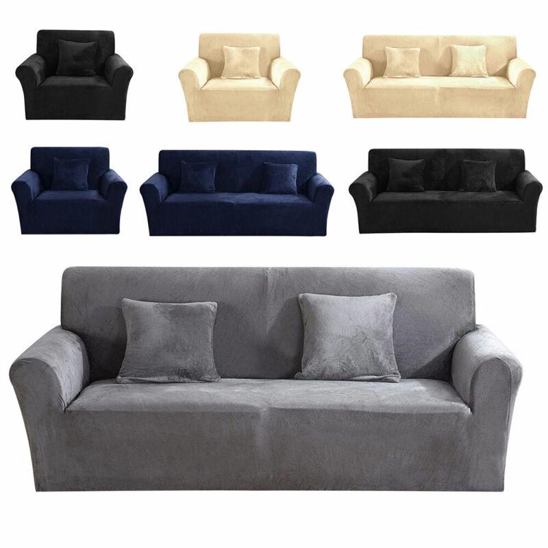 Couverture de canapé Sofa Housse Protector doux Velours Peluche 1-3 siège 11