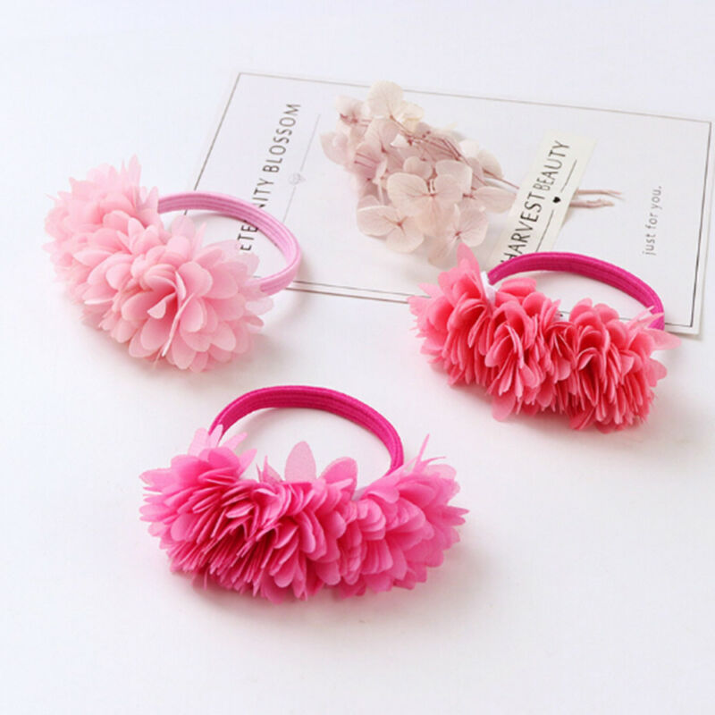 Multi-layer Flower Elastic Hair Bands Hair Clips Girls Kids Hair Accessories 3