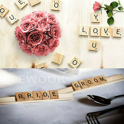 200PCS Wooden Alphabet Scrabble Tiles Black Letters & Numbers For Crafts Wood 12