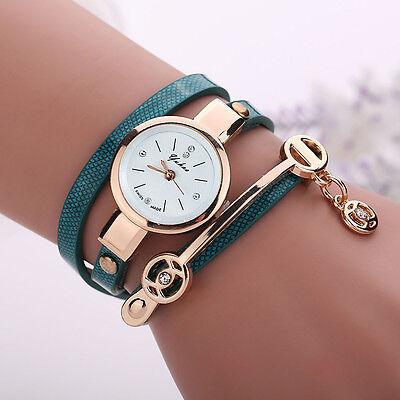 2016 Mode Femmes Montre Femmes acier inoxydable bracelet en cuir poignet montres 3