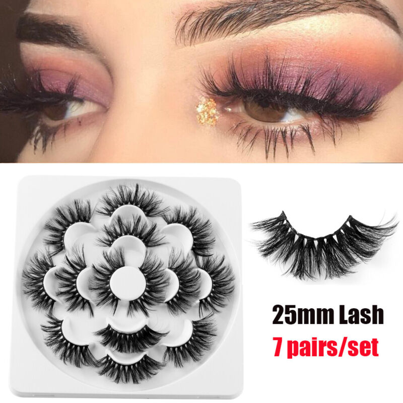 SKONHED 7 Pairs 25mm 6D Mink Hair False Eyelashes Thick Wispy Fluffy Lashes NEW 3
