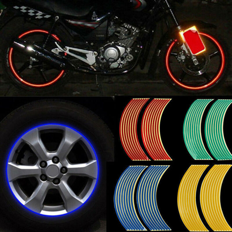 16 Strips Lots Reflective Motorcycle Car Rim Stripe Wheel Decal Tape Stickers.