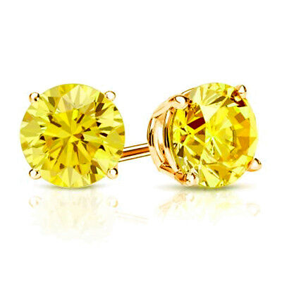 4ct CZ Stud Earrings Brilliant Cut Cubic Zirconia men women 10mm 14K gold plated 7
