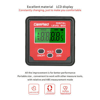 GemRed Mini LCD Level Box Angle Gauge Digital Finder Inclinometer Magnetic Base 5