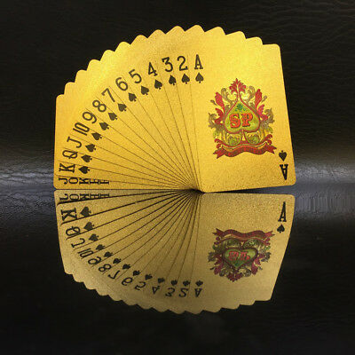 54 Playing Cards Vintage Waterproof 24k Gold Foil Plated Cover Poker Table Games 6