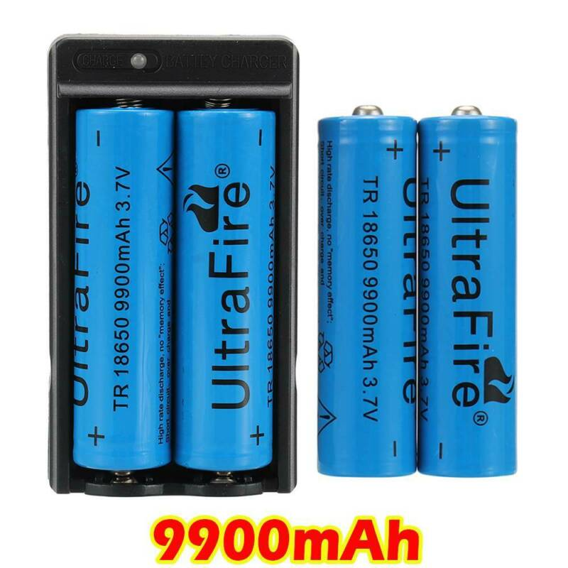 4PC UltraFire 18650 9900mAh Battery 3.7v Li-ion Rechargeable Batteries+Charger 3