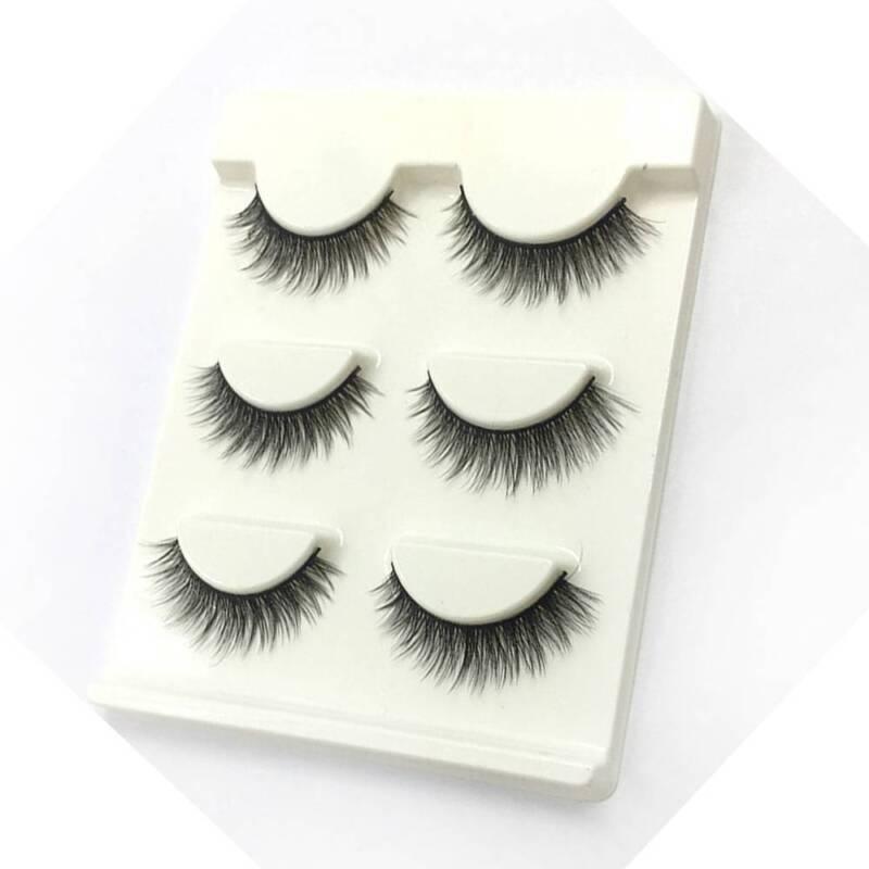 3 Pairs Natural False Eyelashes Fake Lashes Makeup 3D Faux Mink Extension 4