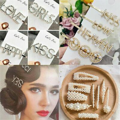 Fashion Gold Silver Pearl Metal Hair Clip Clamps Hairpins Barrette Slide Clip 10
