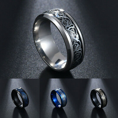 Punk Men Women Dragon Design Rings Jewelry Stainless Steel Band Size 7-11 New 11