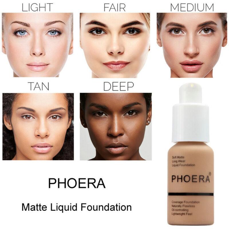 PHOERA Soft Matte Full Coverage Liquid Foundation Concealer Long Lasting Hot 9