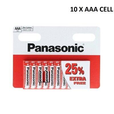 10 x AAA Genuine PANASONIC Zinc Carbon Batteries - 1.5V 02/2021 TRIPLE A