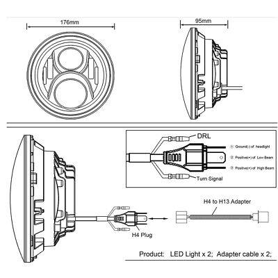 "Pair 7"" INCH LED Headlights Halo Angle Eye For Jeep Wrangler TJ CJ JK LJ 97-18 6"