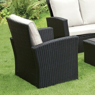 GSD Rattan Garden Furniture 4 Piece Patio Set Table Chairs Grey Black or Brown 11