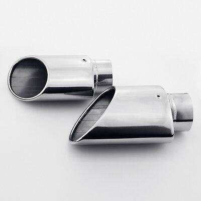 """Pair Exhaust Tips 2.5/"""" Inlet Quad 3.5/"""" Rolled Out Slant Cut Stainless Steel"""