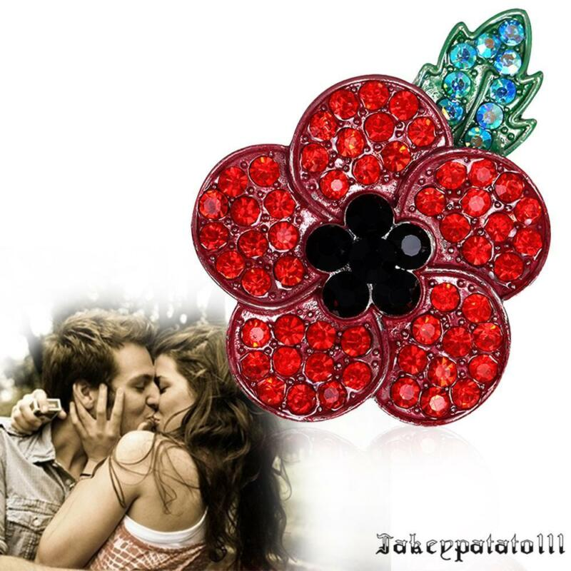 Poppy Vintage Brooch Red Crystal Flower Badge Pins Poppies Broach