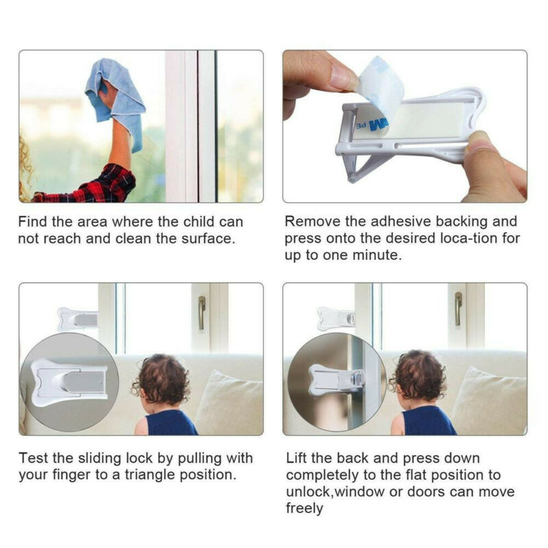 2Pcs Sliding Door Lock for Child Safety Baby Proof Doors & Closets Childproof 2