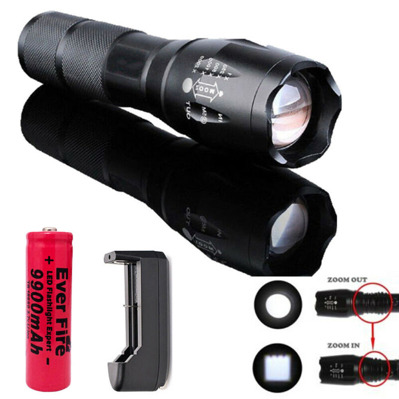 90000LM Tactical T6 Zoomable LED Flashlight Torch Light +18650 Battery & Charger 2