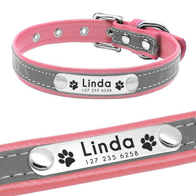 Reflective Personalised Dog Collar Cat Puppy Small Dog Collar Name Phone Engrave 4
