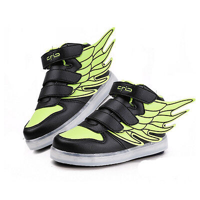 Boys Girls LED Light up Lace Up Luminous Sneakers Kids Children Casual Shoes