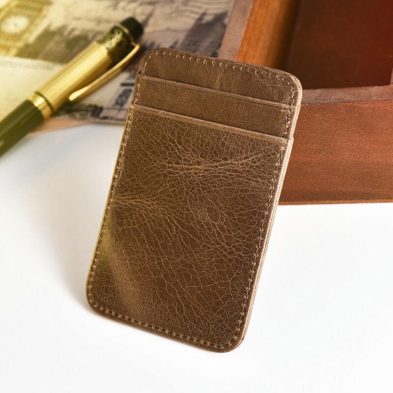 Mens Slim Minimalist Front Pocket Wallet Genuine Leather Credit Card ID Holder 8