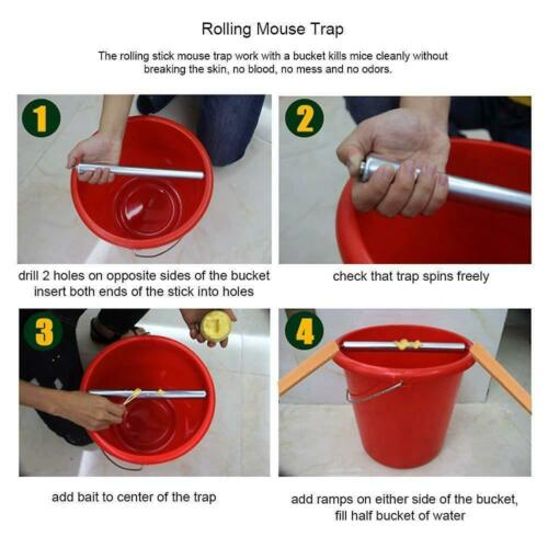 Rolling Mouse Trap Live Catch Release Bucket Spin Mice Cather Rats Rodents Hot 3
