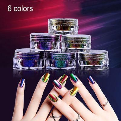 6Colors Chameleon Mirror Chrome Effect Nail Art Powder Manicure Pigment Glitter 2