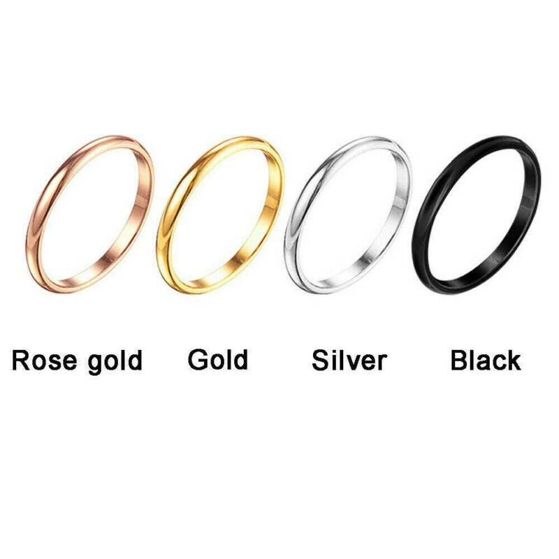 2mm Thin Stackable Ring Stainless Steel Plain Band for Women Girl Size 6-9 1PC 3