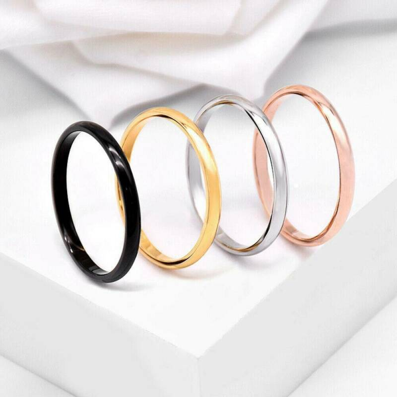 2mm Thin Stackable Ring Stainless Steel Plain Band for Women Girl Size 6-9 1PC 2