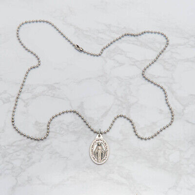 "Miraculous Medal Virgin Mary Pendant Necklace 24"" Chain Italy Silver Tone Alloy 9"