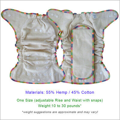 Baby Hemp Night Fitted Cloth Diaper, One Size 2