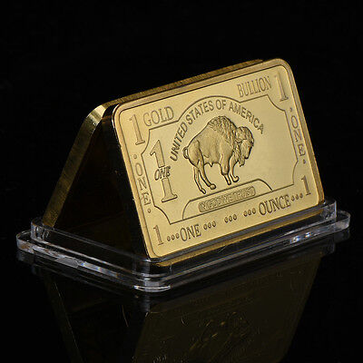 WR 100 Mills .999 Fine Gold Bullion US Buffalo Bar 1 Troy Ounce Collectible Gift