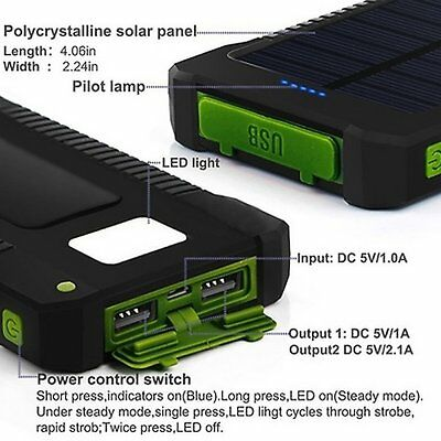 50000mah Solar Power Bank 2 LED 2 USB Waterproof Battery Charger for Cell Phone 6