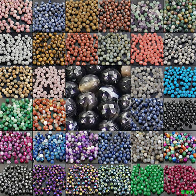 Natural Gemstone Round Spacer Loose Beads 4mm 6mm 8mm 10mm Assorted Stones DIY 4