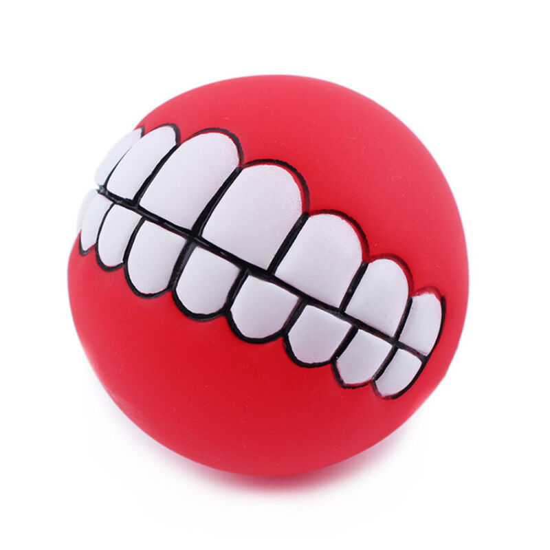 Pet Dog Ball Teeth Funny Silicon Toy Chew Squeaker Squeaky Sound Dogs Play Toy U 2
