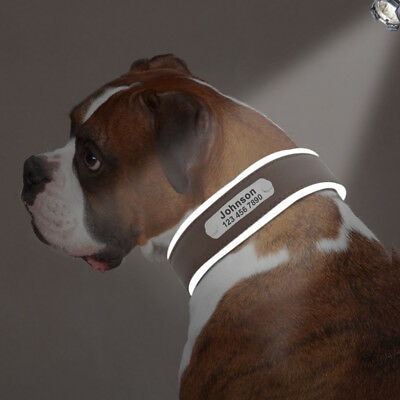 Reflective Personalized Dog Harness Padded Leather Large Dogs Engraved Collar 8