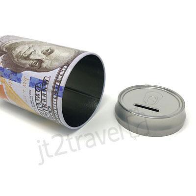 "Tin Money Piggy Bank Can Savings 7.5"" Franklin Coin Jar Saver Great For Kids! 2"