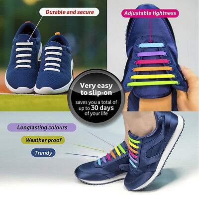 No Tie Elastic Silicone Shoe Laces Shoelaces Sneakers Runners Child/Adult/Unisex 3