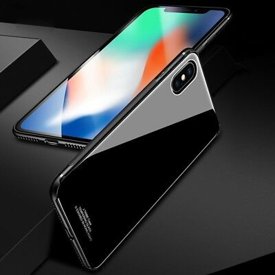 iPhone X XS MAX XR 7 8 Plus Slim Thin Bumper Case Cover Tempered Glass For Apple 6