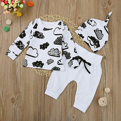 Newborn Baby Girl Boy T-shirt Tops Pants Trousers Hat 3PC Outfit Clothes Hoc 4