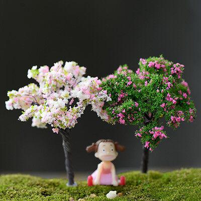 2 Miniature Sakura Tree Plants Fairy Garden Accessories Dollhouse