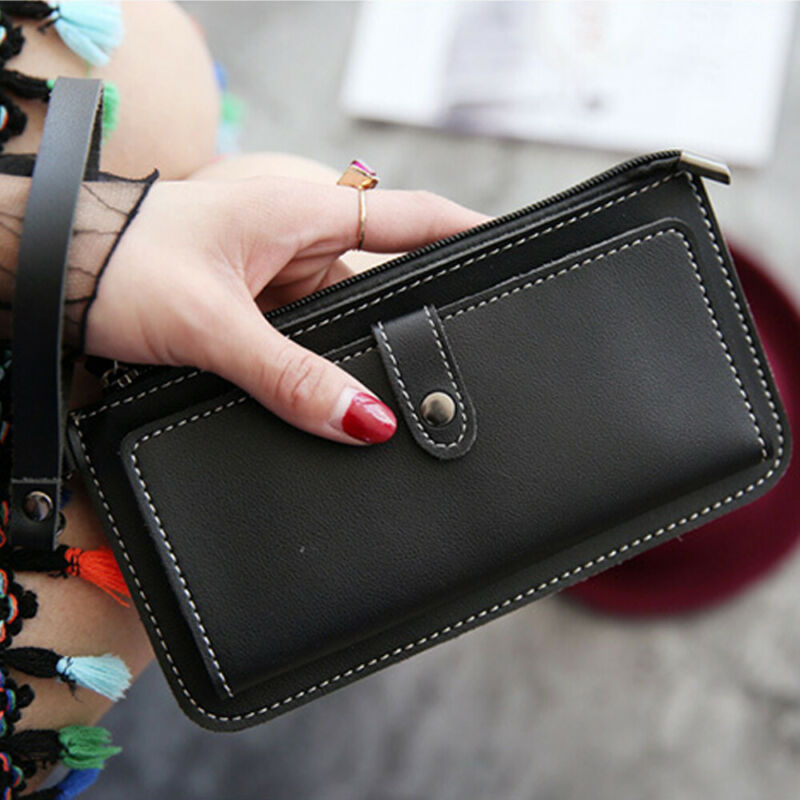 Women Clutch Leather Wallet Long Card Holder Phone Bag Case Purse lady Handbags_ 7